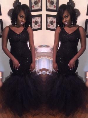 Sexy Black Mermaid Prom Dresses | Shiny Spaghetti Straps Sequins Tulle Evening Dresses_1