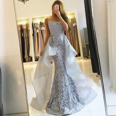 Glamorous Lace Long Prom Dresses | Strapless Over-Skirt Mermaid Evening Dresses_3