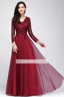 Long-Sleeves V-Neck Floor-Length Burgundy A-line Prom Dresses_8