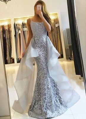 Glamorous Lace Long Prom Dresses | Strapless Over-Skirt Mermaid Evening Dresses_1