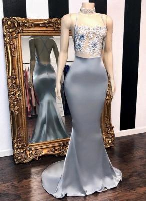 Sexy Sheer Flowers Mermaid Prom Dresses | Crisscross Back Long Party Dresses BC3082_1