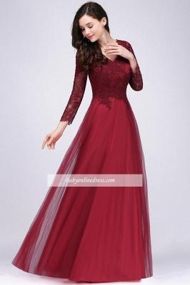 Long-Sleeves V-Neck Floor-Length Burgundy A-line Prom Dresses_5