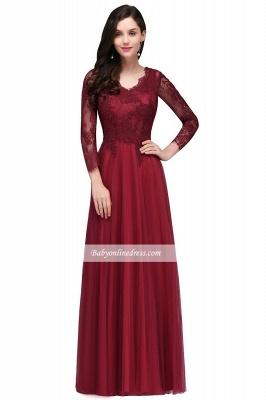 Long-Sleeves V-Neck Floor-Length Burgundy A-line Prom Dresses_4