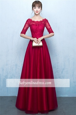 A-Line Lace Lace-Up Floor-Length Half-Sleeves Glamorous Evening Dresses_6