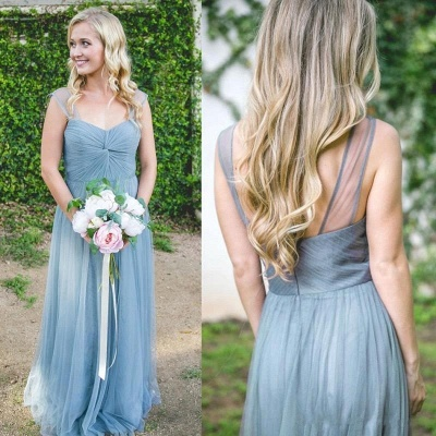 Elegant A-Line Tulle Bridesmaid Dresses | Scoop Cap Sleeves Ruched Maid Of The Honor Dresses_2