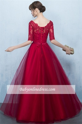 A-Line Lace Lace-Up Floor-Length Half-Sleeves Glamorous Evening Dresses_5