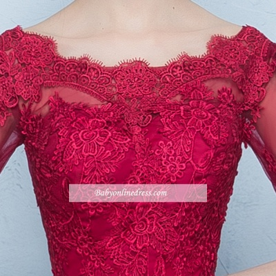 A-Line Lace Lace-Up Floor-Length Half-Sleeves Glamorous Evening Dresses_3