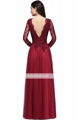 Long-Sleeves V-Neck Floor-Length Burgundy A-line Prom Dresses_6
