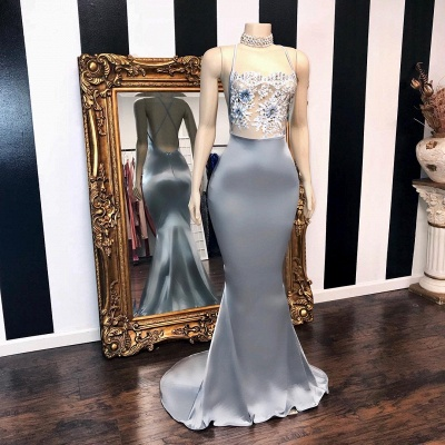 Sexy Sheer Flowers Mermaid Prom Dresses | Crisscross Back Long Party Dresses BC3082_2
