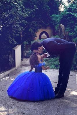 Royal Blue Ball Gown Princess Off Shoulder Stunning Flower Girl Dress_2