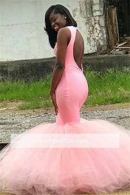Charming Sleeveless Pink Prom Dresses | Appliques Mermaid Backless Evening Dresses_2