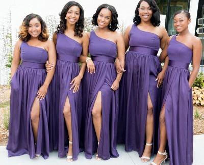 Simple One Shoulder A-Line Bridesmaid Dresses | Side Slit Long Wedding Party Dresses_2