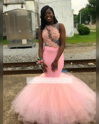 Charming Sleeveless Pink Prom Dresses | Appliques Mermaid Backless Evening Dresses_1