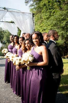 Simple One Shoulder A-Line Bridesmaid Dresses | Side Slit Long Wedding Party Dresses_3