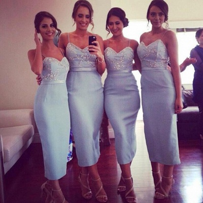 Elegant Sheath Bridesmaid Dresses | Spaghetti Straps Appliques Beaded Tea Length Prom Dresses_3