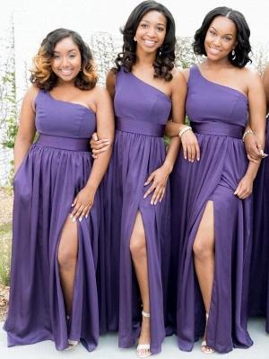 Simple One Shoulder A-Line Bridesmaid Dresses | Side Slit Long Wedding Party Dresses_1
