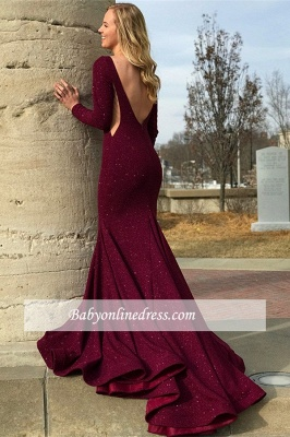 Charming Long Sleeves Crew Prom Dresses   Backless Mermaid Floor Length Evening Gowns_2