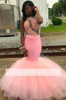Charming Sleeveless Pink Prom Dresses | Appliques Mermaid Backless Evening Dresses_3