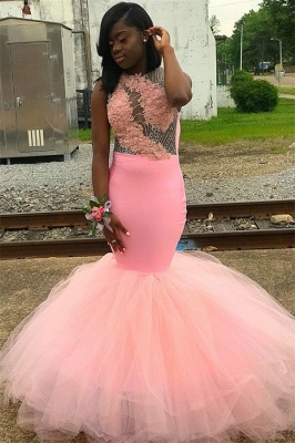 Charming Sleeveless Pink Prom Dresses | Appliques Mermaid Backless Evening Dresses_4