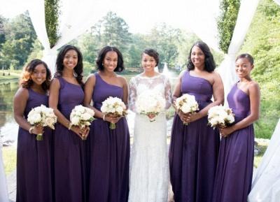 Simple One Shoulder A-Line Bridesmaid Dresses | Side Slit Long Wedding Party Dresses_4