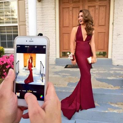2021 Burgundy Mermaid Prom Dresses Deep V-Neck Backless Evening Gowns_3