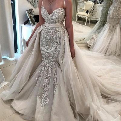 Elegant Lace Mermaid Wedding Dresses   Spaghetti Straps Over Skirt Long Bridal Gowns_2