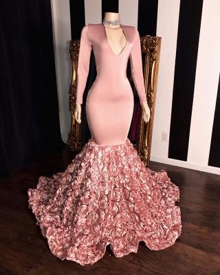 Elegant Pink Flowers Prom Dresses | V-Neck Long Sleeves Formal Dresses_2