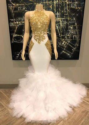 Amazing Gold White Prom Dresses | Halter Neck Mermaid Evening Gowns_2