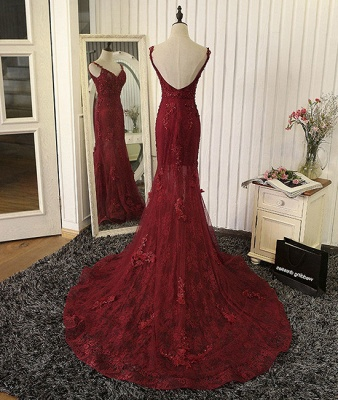 Burgundy Lace Appliques Tulle Prom Dresses Mermaid Backless Evening Gown BA5184_3