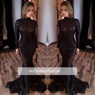 Sexy Black Mermaid High Neck Evening Gowns Long-Sleeves Sequined Prom Dress JJ0085_2