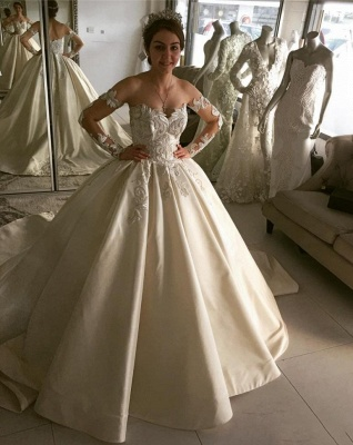 Elegant Ball Gown Wedding Dresses | Off-the-Shoulder Long Sleeves Bridal Gowns_2