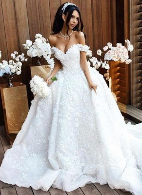 Romantic Floral Appliques Ball Gown Wedding Dresses | Off-the-Shoulder Bridal Gowns_1