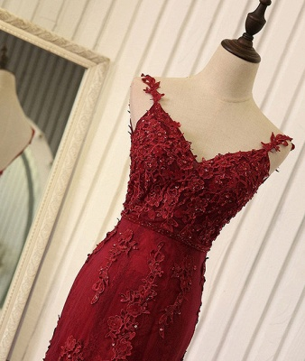 Burgundy Lace Appliques Tulle Prom Dresses Mermaid Backless Evening Gown BA5184_4