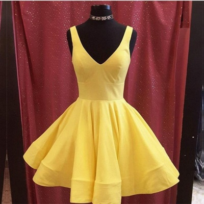 Simple Yellow A-Line Homecoming Dresses | V-Neck Sleeveless Short Party Dresses_2