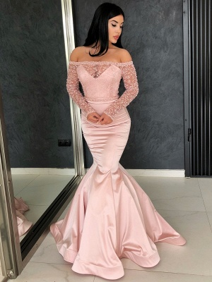 Sparkly Pink Mermaid Prom Dresses | Off The Shoulder Beading Long Prom Dresses_1