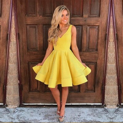 Simple Yellow A-Line Homecoming Dresses | V-Neck Sleeveless Short Party Dresses_3