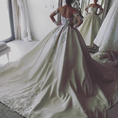 Elegant Ball Gown Wedding Dresses | Off-the-Shoulder Long Sleeves Bridal Gowns_3