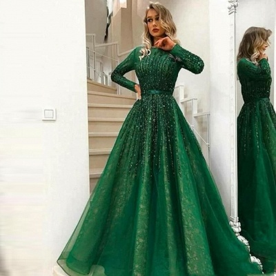 Green Lace A-Line Evening Dresses | Jewel Long Sleeves Beading Prom Dresses_2