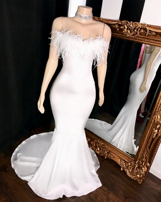 Sexy Strapless Feather Prom Dresses | White Sleeveless Mermaid Evening Gowns_2