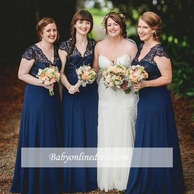 Romance Lace Chiffon Navy Blue Long Bridesmaid Dresses_1