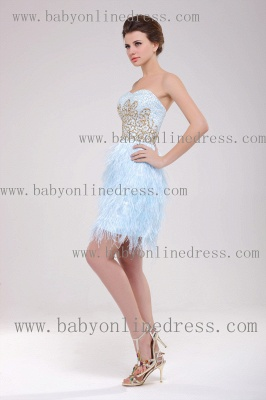 2021 Homecoming Dresses Strapless Lace dresses Mini Feather Sexy dresses Cocktail Dresses B222_2