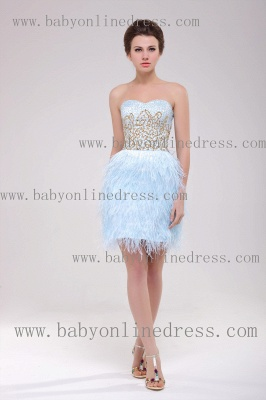 2021 Homecoming Dresses Strapless Lace dresses Mini Feather Sexy dresses Cocktail Dresses B222_1