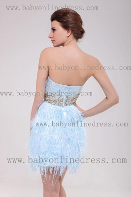 2021 Homecoming Dresses Strapless Lace dresses Mini Feather Sexy dresses Cocktail Dresses B222_3