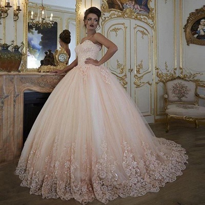 Exquisite Lace Ball Gown Wedding Dresses | Sweetheart Sleeveless Tulle Bridal Gowns_2