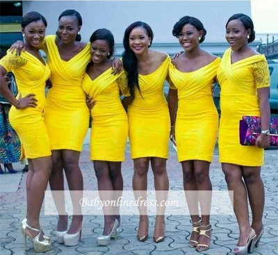 Bodycon Off-the-shoulder Sexy Yellow Mini Lace Bridesmaid Dress_1