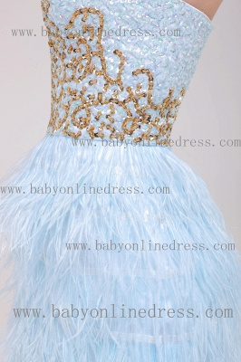 2021 Homecoming Dresses Strapless Lace dresses Mini Feather Sexy dresses Cocktail Dresses B222_4