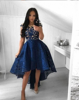 Chic Navy Blue Lace High Low Prom Dresses | Scoop Cap Sleeves Appliques A-Line Homecoming Dresses_2