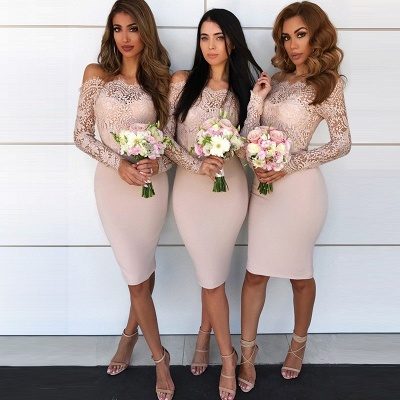 Chic Short Sheath Bridesmaid Dresses | Off-the-Shoulder Lace Maid of the Honor Dress_3