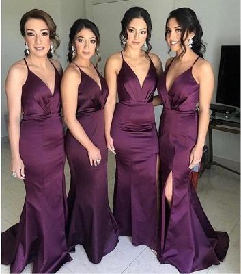 Sexy Slit Mermaid Bridesmaid Dresses | Spaghetti Straps Simple Maid Of The Honor Dresses_2