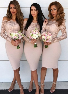 Chic Short Sheath Bridesmaid Dresses | Off-the-Shoulder Lace Maid of the Honor Dress_1